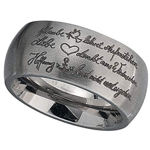 Girahlutions - Ring - Partnerring Glaube, Liebe, Hoffnung aus mattiertem Edelstahl - eingraviertes Liebesgedicht