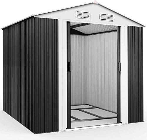 SPMDH Outdoor storage of galvanized metal tool shed brown roof 8x6ft,Black