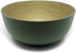 Space Home - Ensaladera de Bambú - Cuenco para Mezclar - Cuenco para Frutas y Verduras Redondo - Fuente para Servir - Ø 23 cm - Verde Oliva