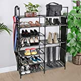 JOSHNESE 7-Tier Shoe Rack, 22 Pairs Non-Woven Fabric Shoe Storage Organizer, Sturdy Shoe Shelf for Entryway, Closet, and Bedroom (Black)