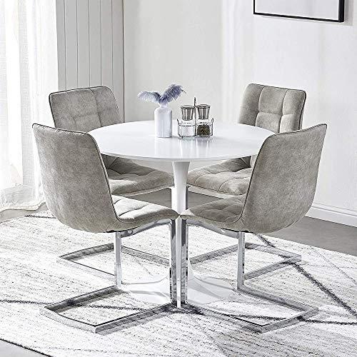 Mesa de comedor y silla de silla, mesa de cocina y silla de cocina de tela de 4 personas Conjunto de mesa de cocina, utilizado para la oficina de la sala de estar de la cocina,Light grey