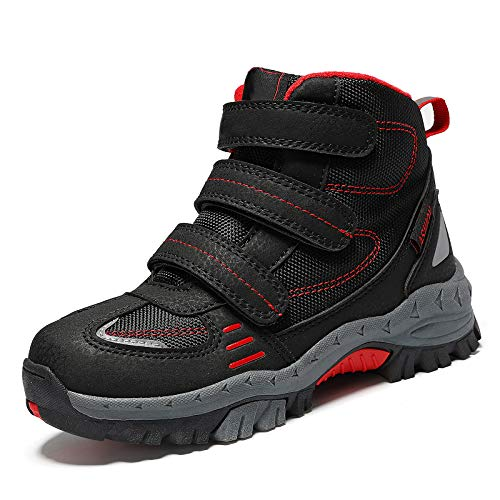 Kinder Wanderschuhe Winterschuhe Jungen Schneestiefel Warm Mädchen Outdoor Trekking Schuhe rutschfeste Mid Trekkingstiefel Schwarz/Rot gr 29