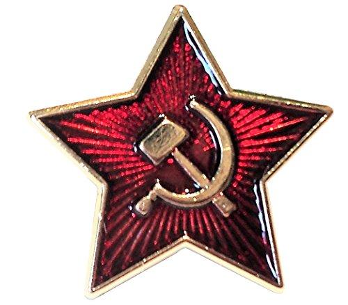 Warzone Soviet Union Small Red Star Hammer & Sickle Communist Emblem USSR 24ct Gold Plate Enamel Badge