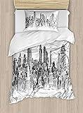 ABAKUHAUS Nueva York Funda Nórdica, Dibujo a Mano Paisaje Nueva York Turismo Viaje Centro Industrial Ciudad Moderna, 1 Funda para Almohada Set Decorativo de 2 Piezas, 264 x 220 cm, Gris