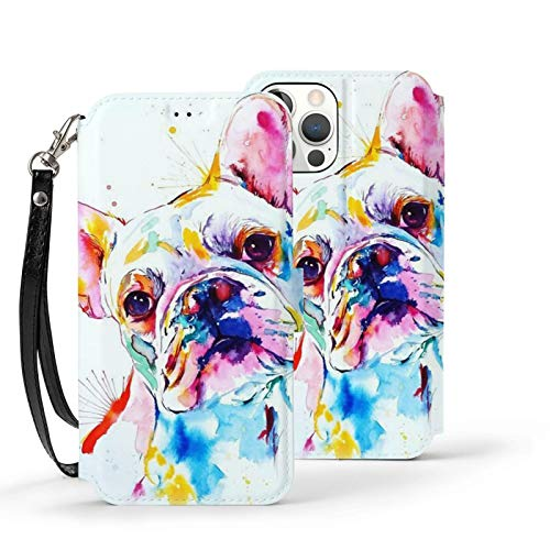French Bulldog Watercolor Painting iPhone 12 / iPhone 12 Pro Max Wallet Case,Leather Card Case Wallet with Handy Stand Feature,Flip Phone Case Cover