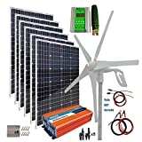 Turbina eólica 1000 System (kit Hybrid) Watts panel solar turbina de viento: 6 pcs100W Mono Solar Turbine Panel + 400W generador de viento + 2000W Pure Desde controlador de inversor de la onda + MPPT