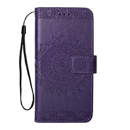 Coque Galaxy S8 Plus, SONWO Gaufrage Mandala Motif Housse Cuir PU Flip Portefeuille Etui avec Portable Dragonne et Carte de Crédit Slot pour Samsung Galaxy S8 Plus, Violet