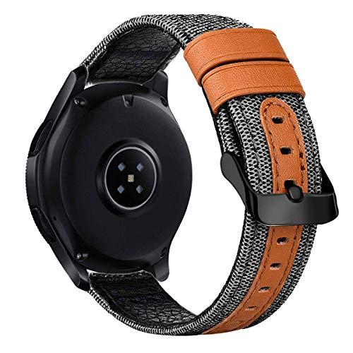 iBazal Gear S3 Uhrenarmband 46 mm, Gear S3 Frontier/Classic Band mit schwarzer Schließe, 22 mm, echtes Leder, Segeltuch, Stoffgewebe, Ersatzarmband für Samsung Gear S3 Frontier/Classic SM-R760, Grau