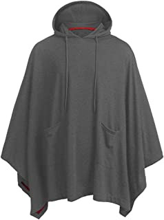 Mens Poncho Cloak Irregular Loose Bat Sleeves Hooded Poncho Cape Coat Hooded Pullover T Shirt Adjustable Drawstring Hood w...