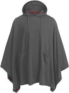 Sweatshirt con Cappuccio Uomo Poncho Irregolare Moda Felpa Maniche a Pipistrello Ampia con Tasche Coulisse Cappotto Caldo ...