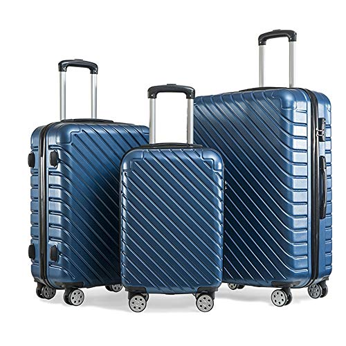 yaunli Checked luggage Three Pieces 20 Inch 24 Inch 28 Inch Luggage Suitcase Portable Carry On Trolley Suitcase ABS With Spinner Wheels Business Travel Bag Scratchproof Travel checked luggage
