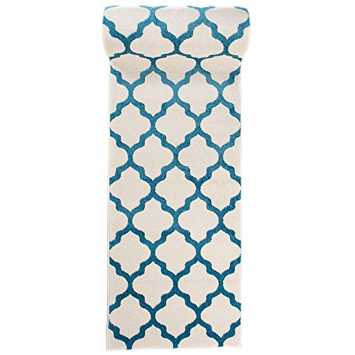 Tapis de Passage Couloir sur Mesure - Motif De Treillis Marocain - Design Moderne & Traditionnel - Parfait Pour La Chambre - Plusieurs Coloris & Tailles - blanc turquoise bleu - 80 x 900 cm
