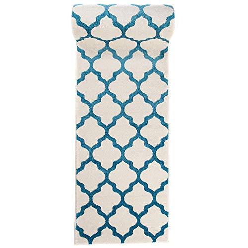 Carpeto Rugs Teppich Läufer Flur - Orientalisch Teppichläufer - Kurzflor, Weich - Flurläufer für Wohnzimmer, Schlafzimmer - Teppiche - Meterware - Weiß Türkis Blau - 80 x 300 cm