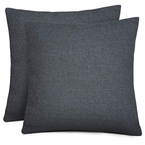 Rendiele Cushion Covers Cotton Linen Square Decorative Throw Pillow Covers for Home, Bed, Sofa, 40cmx40cm,Pack of 2