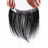 Meiverah Frontal Hairpiece for men Natural Black Hair Extension Hairline Loss Straight Tape in Human Hair Toppers Replacement Toupee (0.78''x6.3'', Natural Black)