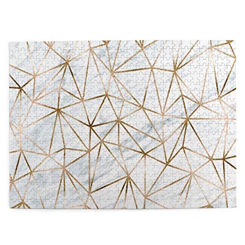 500 piezas puzzle navidad mármol fondo con oro polígonos 52*38 cm rompecabezas de madera para adultos