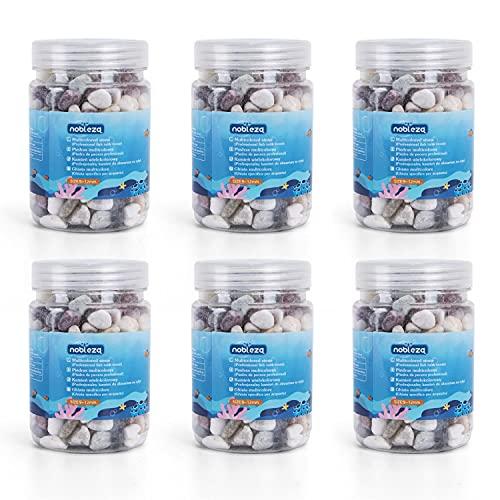 Nobleza-6 x pecera, Acuario, jarrón, Piedras de decoración de jardín, Arena de Jade Blanco, Piedra Negra, Piedra Colorida-6 Botellas