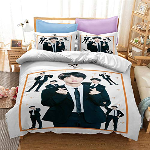 Evvaceo Child Bedding Set Duvet Cover And Pillowcase Celebrities 220 Cm X 260 Cm 3D Print Bedding 3-Piece Set Zipper Closure Teens Boy Girl Baby Superfine Fiber Prevent Allergy Breathable(Super King)