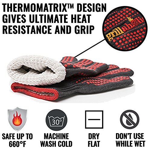 Grillaholics Barbecue Gloves, Top Cooking Gloves in Barbeque Grilling Accessories, 660°F Heat Resistant with ThermoMatrix Silicone, Protect Your Hands with BBQ Oven Mitts