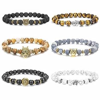 Finrezio 6PCS Mens Bead Bracelets Set Dragon/Lion/Panther/Owl/Elephants/Buddhas Charm Lava Rock Natural Stone Bracelet 8MM Style B 6Pcs of Elastic