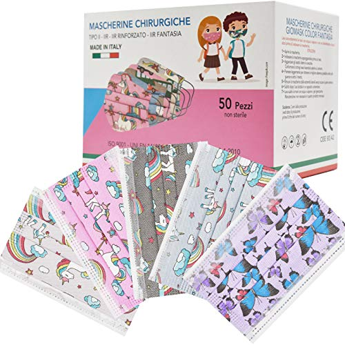 50 Stück Made in Italy bunte Schutzmasken für Kinder, 3 Schichten CE Typ IIR, verstellbare Nasenpolster