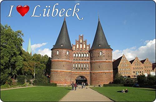 Cadora Magnetschild Kühlschrankmagnet I Love Lübeck I