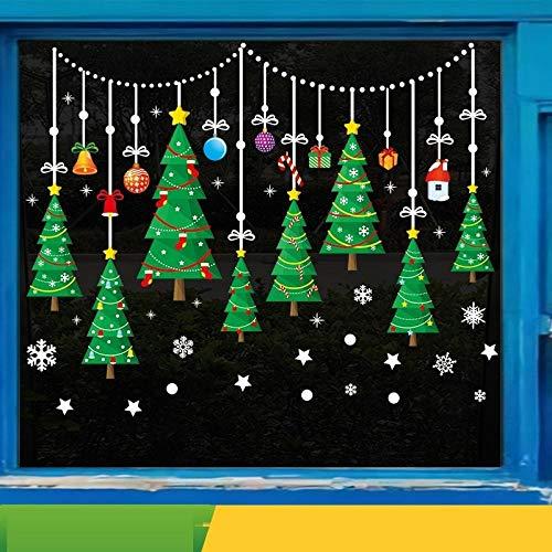 Pegatinas de pared para Navidad, para puertas y ventanas, adhesivos de doble cara, ventanas, ventanas y puertas, decoración festiva, decoración para ventanas, decoración navideña