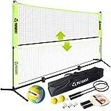 Patiassy Portable Pickleball Volleyball Badminton Combo Set with Net, 2 Rackets, 3 Shuttlecocks, 1 Volleyball, 2 Pickleball Paddles and 2 Pickleballs for Indoor Outdoor Court Backyard, 17ft