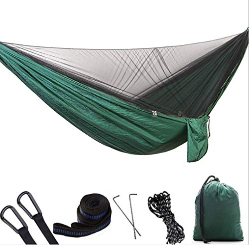 RRDF Camping Hammock with Mosquito Net - Lightweight Double Hammock, Portable Hammocks for Indoor,Outdoor, Hiking, Camping, Backpacking, Travel, Backyard, Beach (Dark Green)