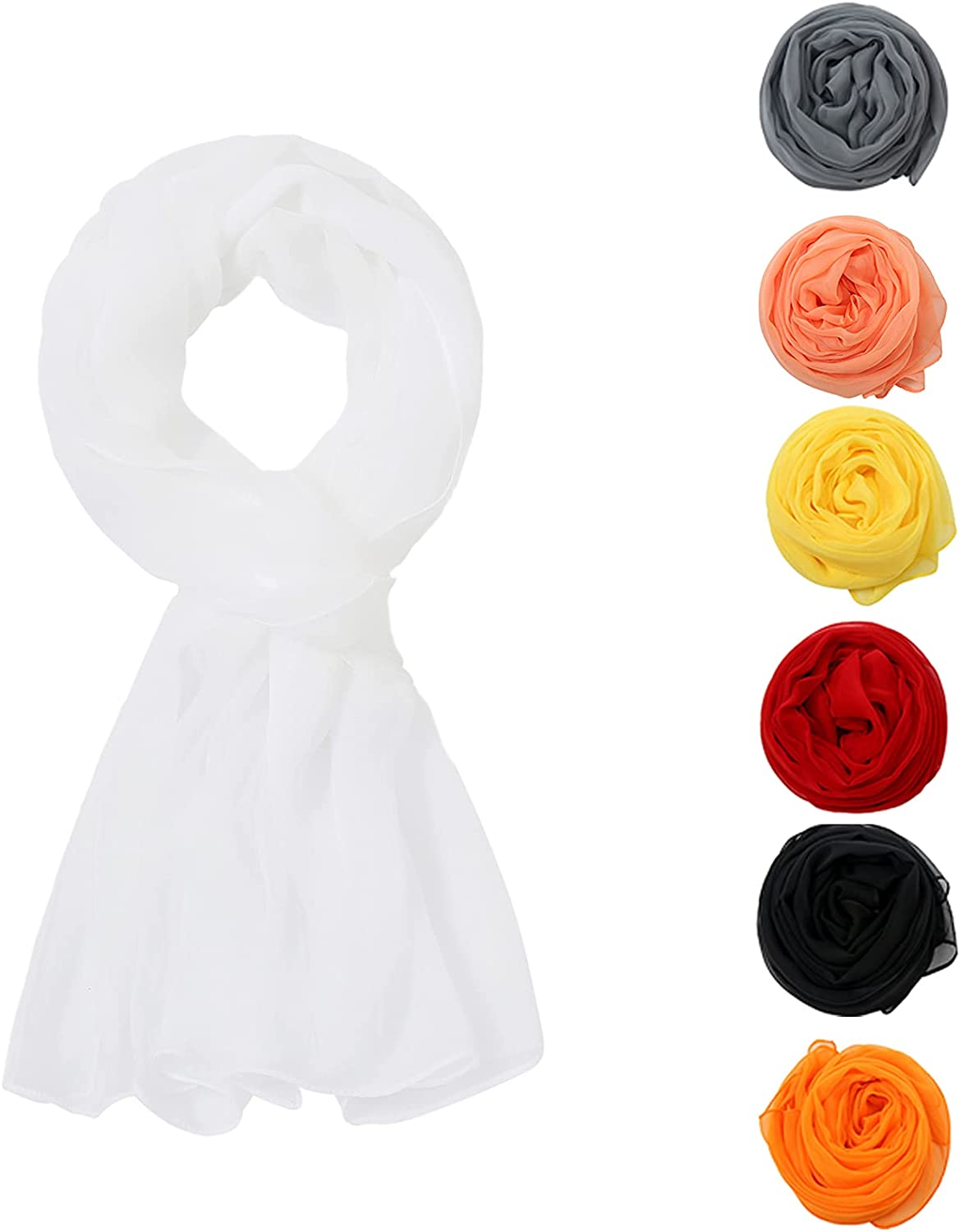 Solid Color Scarves Silk Long Scarf Lightweight Accent Scarfs for Women