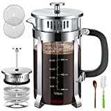 Veken French Press Coffee Tea Maker (34 oz), 304 Stainless Steel Coffee Press with 4 Level Filtration System, Thickened Heat Resistant Borosilicate Glass, Silver