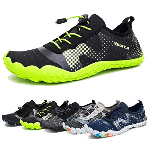 Water Shoes for Men Quick-Dry Aqua Sock Outdoor Athletic Sport Shoes for Kayaking,Boating,Hiking,Surfing,Walking (A-Black/Green, 41)