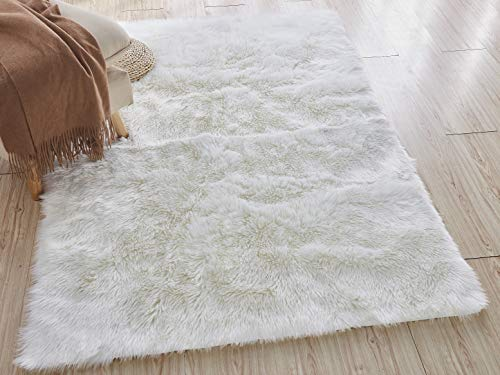 Home Decorators Collection Faux Sheepskin Area Rug, 5'X8', White