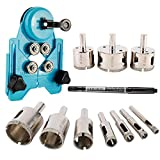 Artilife Diamond Drill Bits, Hollow Drill Hole Saw Set, 10-Piece Tile Opener with Hole Saw Guidance Fixture, Suitable for Ceramic, Glass, Tile, Porcelain, Marble