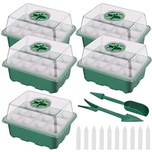 5pz Vassoi per la germinazione Delle Piante Vassoi per Propagatore di Semi 12 Buchi Scatola di Germinazione con Coperchio Mini Serre per Piante con etichette strumenti per germinazione Coltivazione