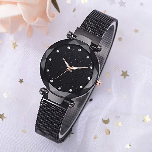 Las Mujeres Elegante magnética de la Correa de señora Luxury Diamond Cielo Estrellado Reloj de Pulsera de Reloj de los Relojes (Color : Negro)