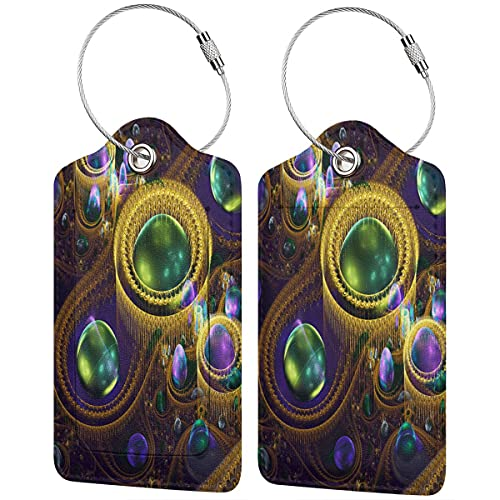 PATINISA Luggage Tag with Privacy Cover,Circles,Colorful,Lines Lines,Colorful,abstacto 3D Fractal,Baggage Labels, Suitcase ID Tags for Travel Suitcases Handbags,(4 pcs)