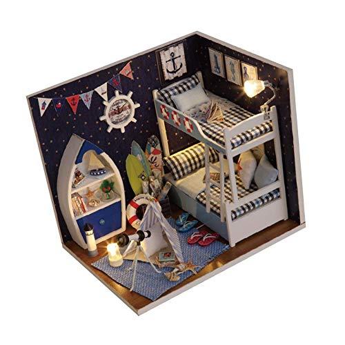 favourall Kit de casa de muñecas en miniatura con muebles, 3D cielo estrellado de madera casa en miniatura con luces LED, cubierta contra el polvo y pegamento, kit de casita de juego montado a mano