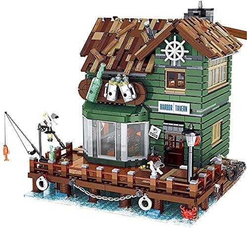 VGop Kreative Alter Anglerladen, UrGe 30108 Captain's Wharf Bausatz Moc Klemmbausteine Kompatibel mit Lego 21310 Alter Angelladen