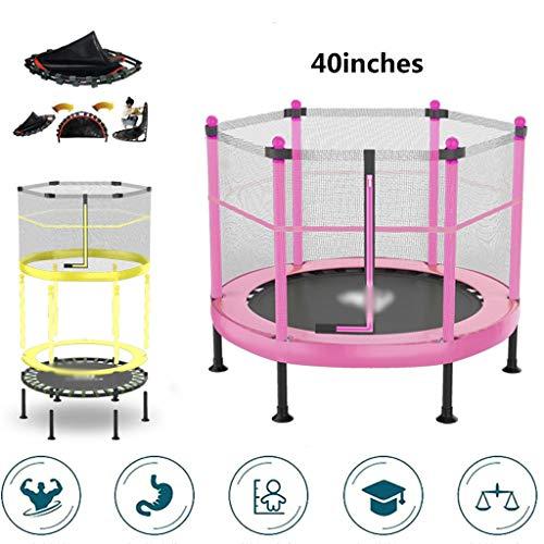 DXIUMZHP Trampoline Kinderheim Trampolin Leises Hüpfendes Innenbett Trampolin Mit Sicherheitsnetz Garten Im Freien Rebounder Hochelastisches Trampolin (Color : Pink, Size : 3.3FT)