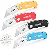 REXBETI 4-Pack Folding Utility Knife Quick-change Box Cutter for Cartons, Cardboard and Boxes, Back-lock Mechanism with 10 Extra Blades