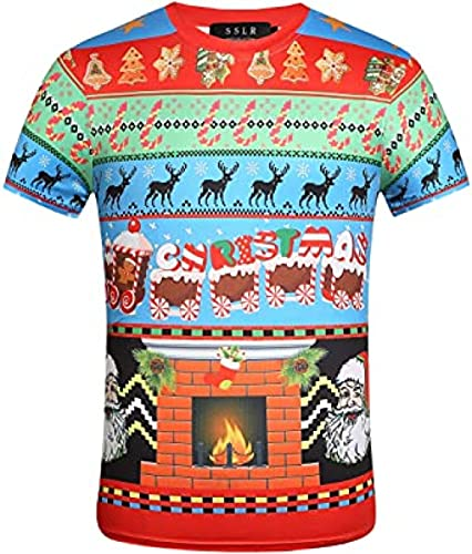 Camiseta Plateada Mujer Camiseta Navideña Navideña con Cuello Redondo Y Cuello Redondo para Hombre