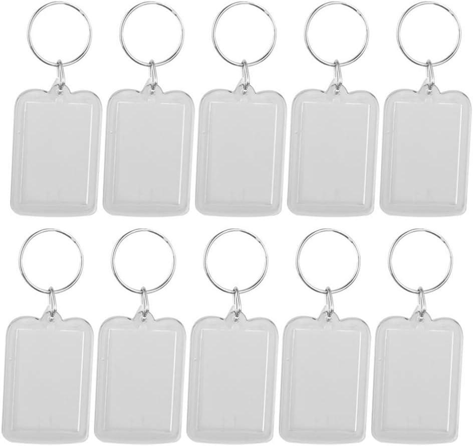 Holibanna 10Pcs Clear Acrylic Photo Keychains Photo Frame Keyring Keyrings Key Holder Great for DIY Gift