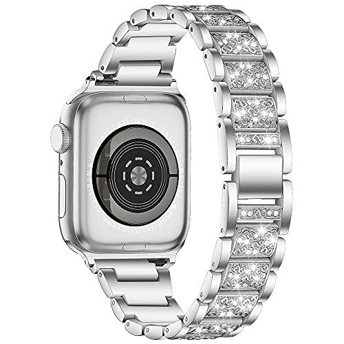 AISPORTS Compatible con Apple Watch Correa de 44 mm y 42 mm para mujeres, Crystal Bling Glitter Diamond Rhinestone Jewelry Correa de repuesto para Apple Watch SE/iWatch Series 6/5/4/3/2/1