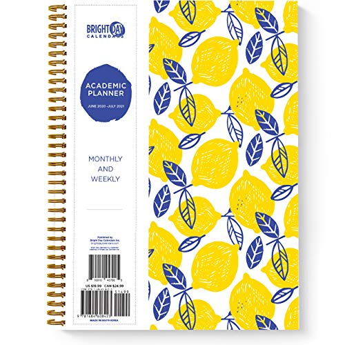 2020-2021 Lemons Academic Planner - Yearly Monthly Weekly Large Daily Calendar Organizer by Bright Day Spiral Bound Dated Agenda Flexible Cover...