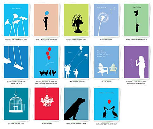 Assorted Silhouettes Premium Greeting Cards - Bulk Set of 14 Cards Including: Birthday, Thank You, Sympathy, Inspiration and Blank