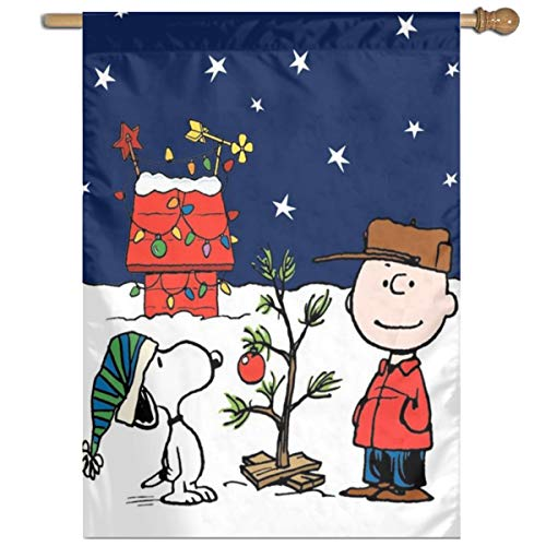 WOMFUI Snoopy and Peanuts Charlie Brown Christmas Garden Flag Colorful Decoration Lawn Sign