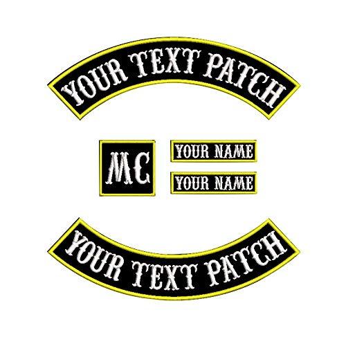 Écussons personnalisables pour vestes de motards, rocker patchs Jaune sur noir.