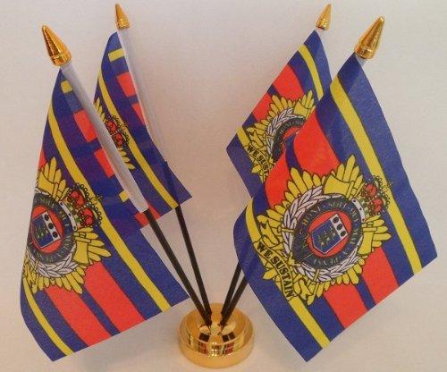 Royal logistiques Corps 4 Drapeau affichage de bureau avec Base dorée