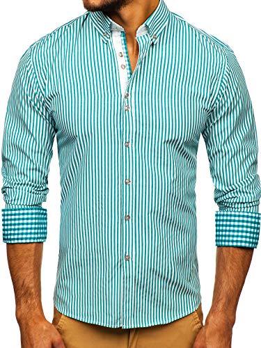 BOLF Hombre Camisa de Manga Larga Cuello Americano Camisa de Algodón Slim fit Estilo Casual 2B2